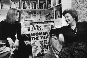 Gloria Steinem (L) and Patricia Carbine, cofounders of Ms. Magazine, May 7, 1987