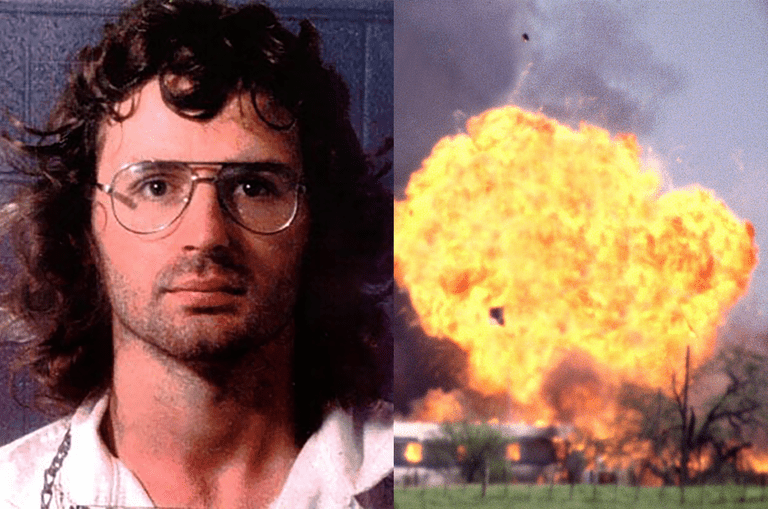 An image of David Koresh's mugshot next to an image of the explosion during the Waco raid.