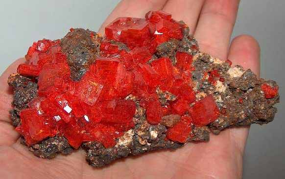 Potassium dichromate crystals occur naturally as the rare mineral lopezite.