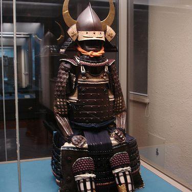 Full suit of Japanese samurai body armor in Japan's National Museum, Tokyo
