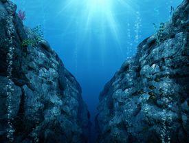 Artist rendering of an ocean trench.