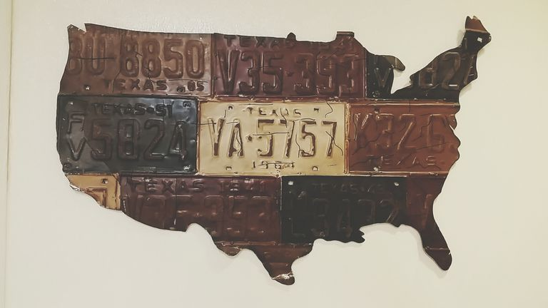 Map of United States constructed from license plates