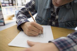 High school student completing a standardized test
