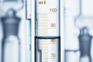Curved surface (meniscus) of water in a graduated cylinder