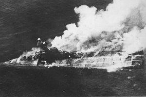 HMS Hermes sinking during World War II