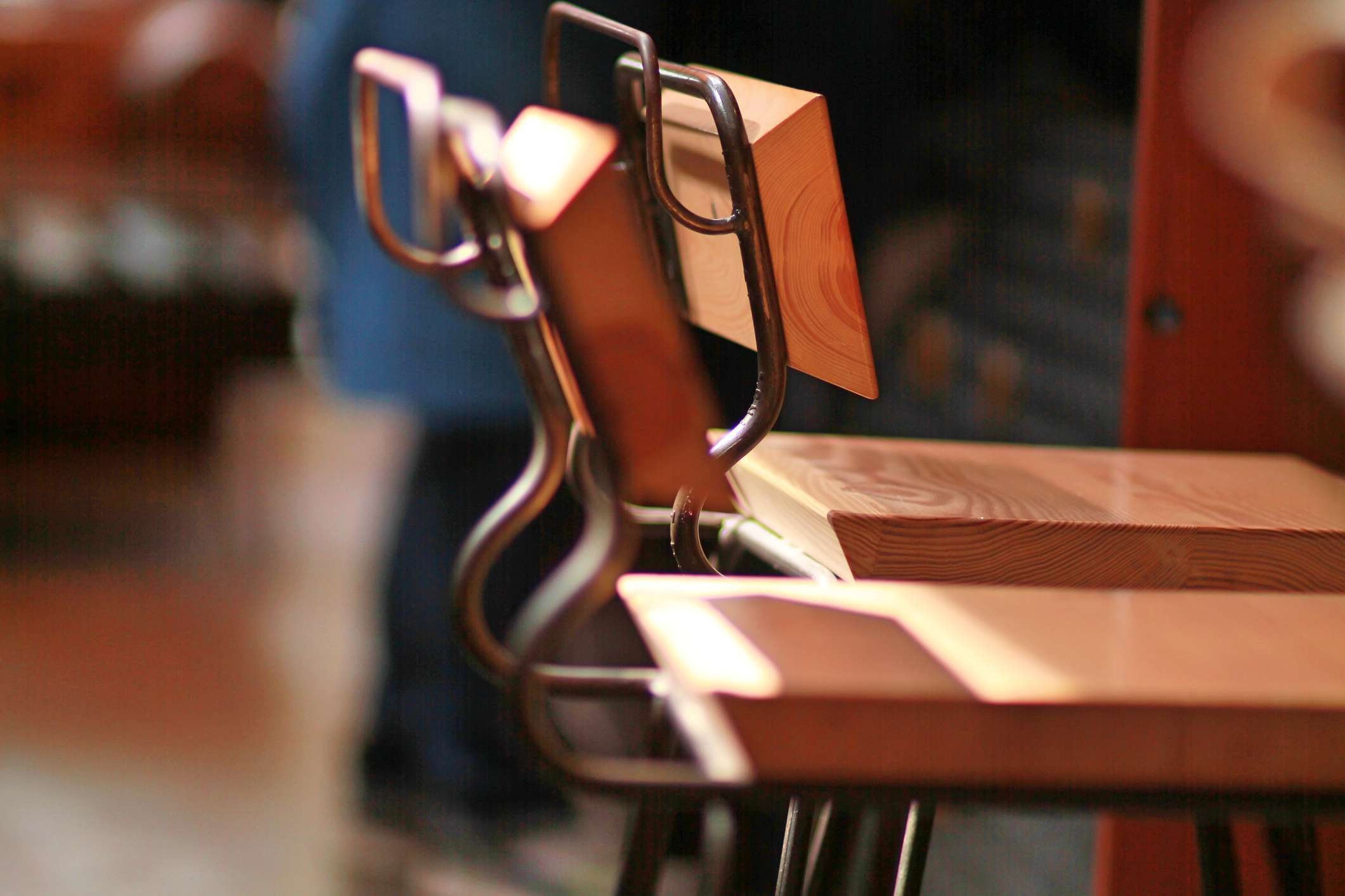 Close-Up Of Wooden Chairs On Floor