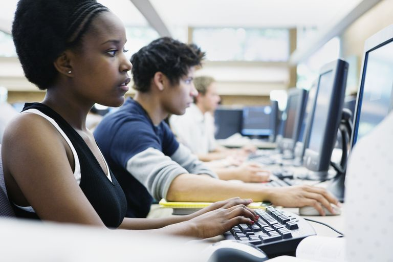 Students in a computer classroom.