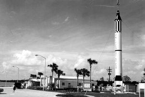 MR-6 Redstone rocket, black and white photograph.