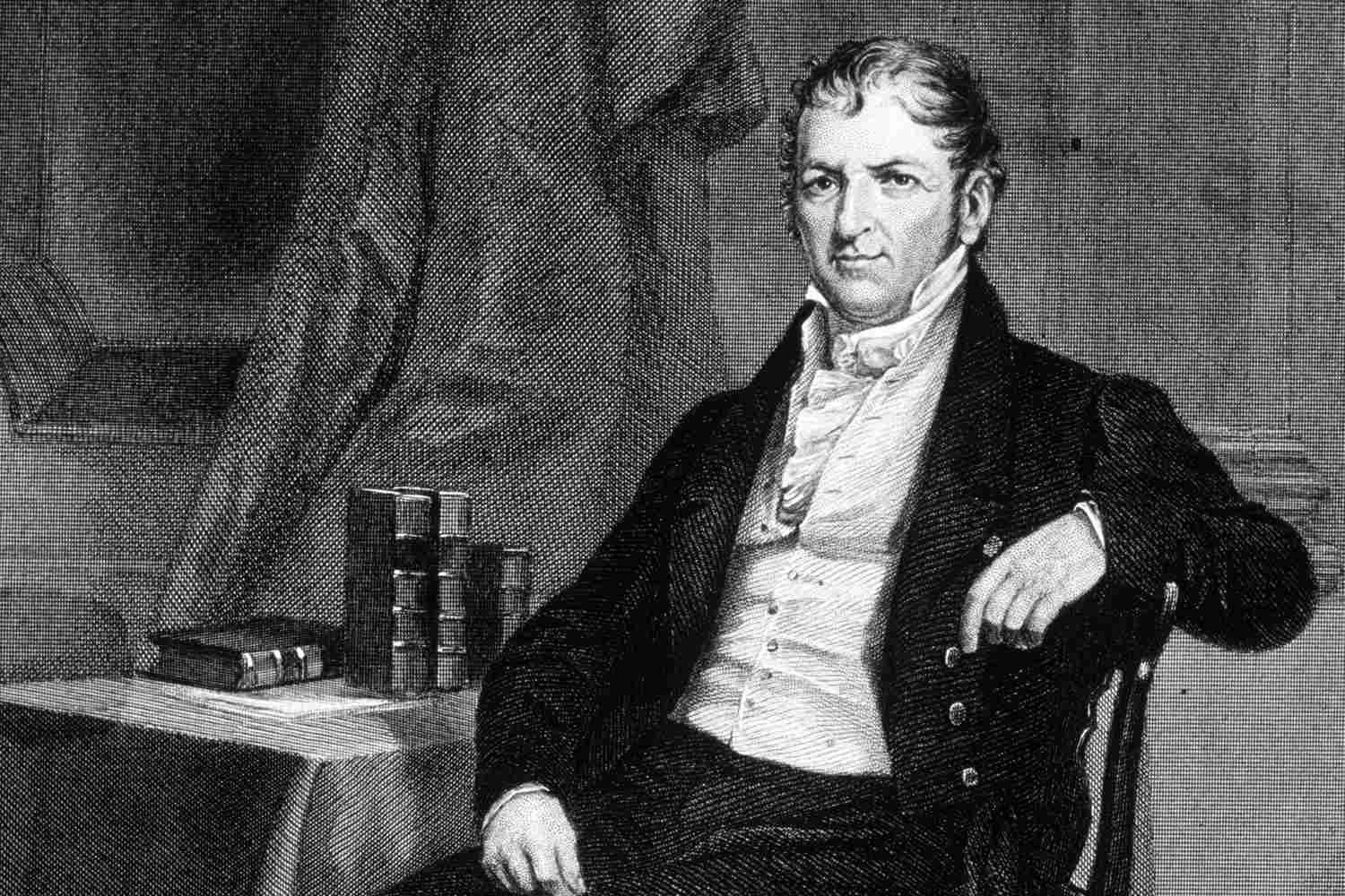 Pencil drawing of Eli Whitney.