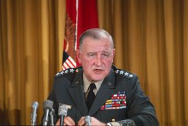 U.S. Army Chief Of Staff General Creighton Abrams during a press conference, full color photograph.