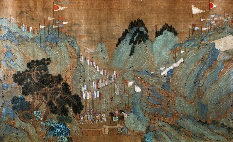 Detail of Royal Entourage in the Mountains from The First Emperor of the Han Dynasty Entering Kuan Tung by Chao Po-chu