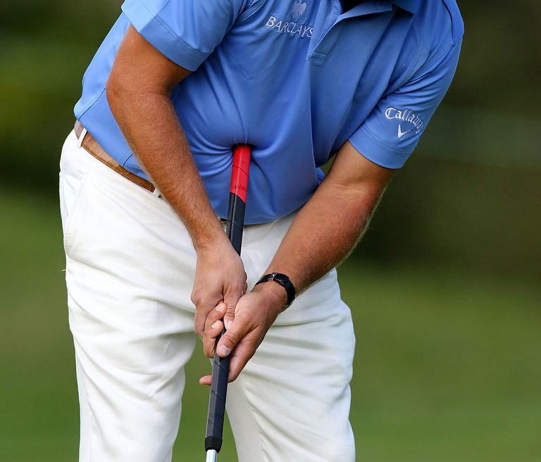Phil Mickelson uses an anchored belly putter
