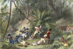 Depiction of combat in the slave rebellion in Haiti