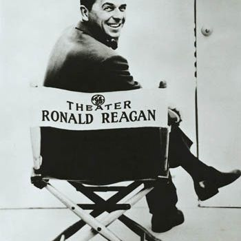 Picture Ronald Reagan sitting in a director's chair at the General Electric Theater.