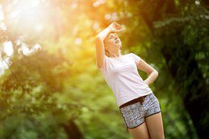 Tired female jogger