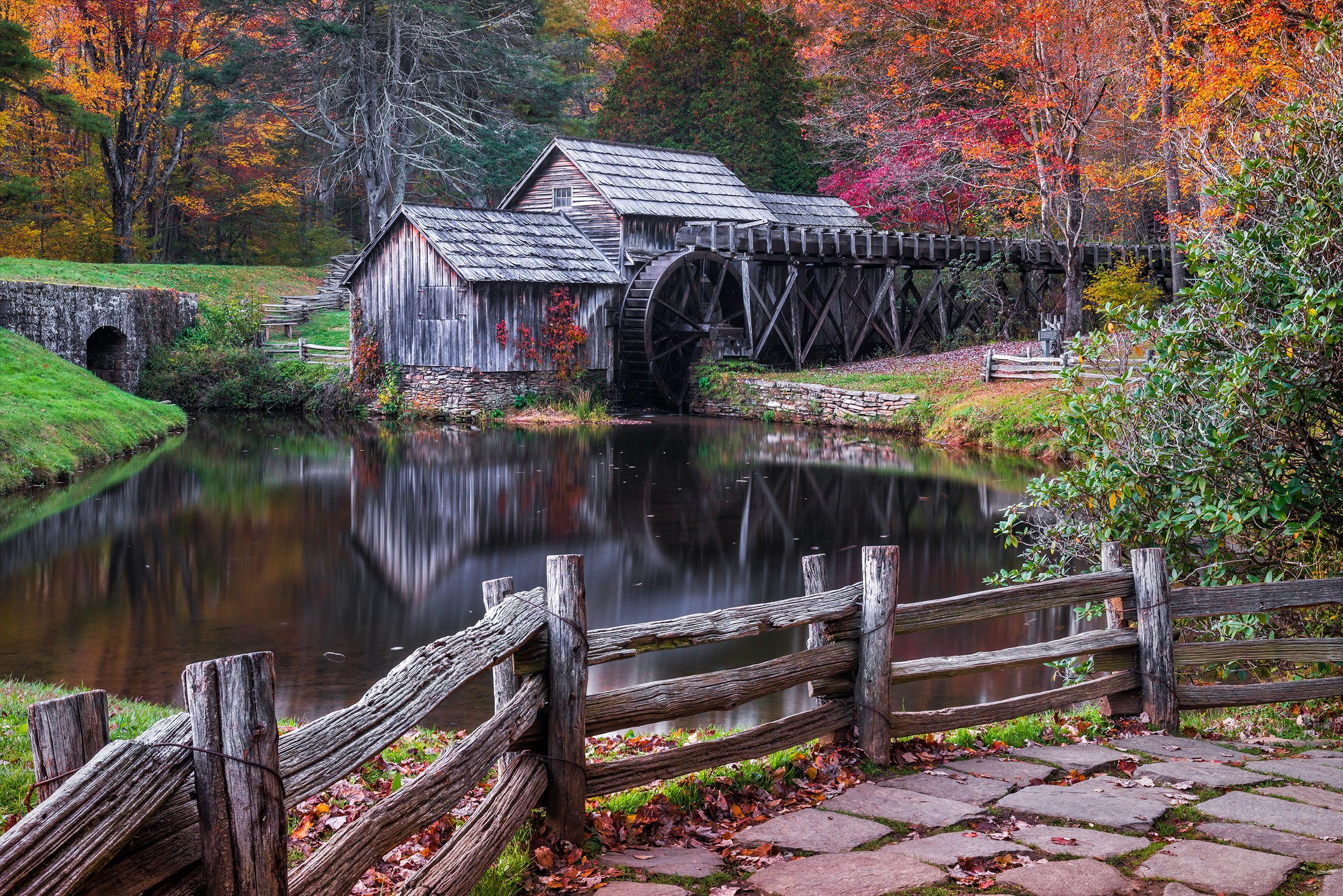 Scenic grist mill, fall foliage