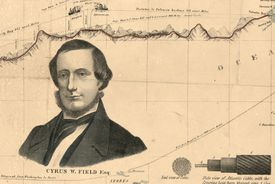 Cyrus Field and the Atlantic cable portrayed on a map.
