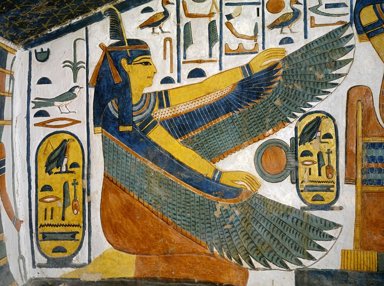 Painting of the Goddess Ma'at from the tomb of Nefertari