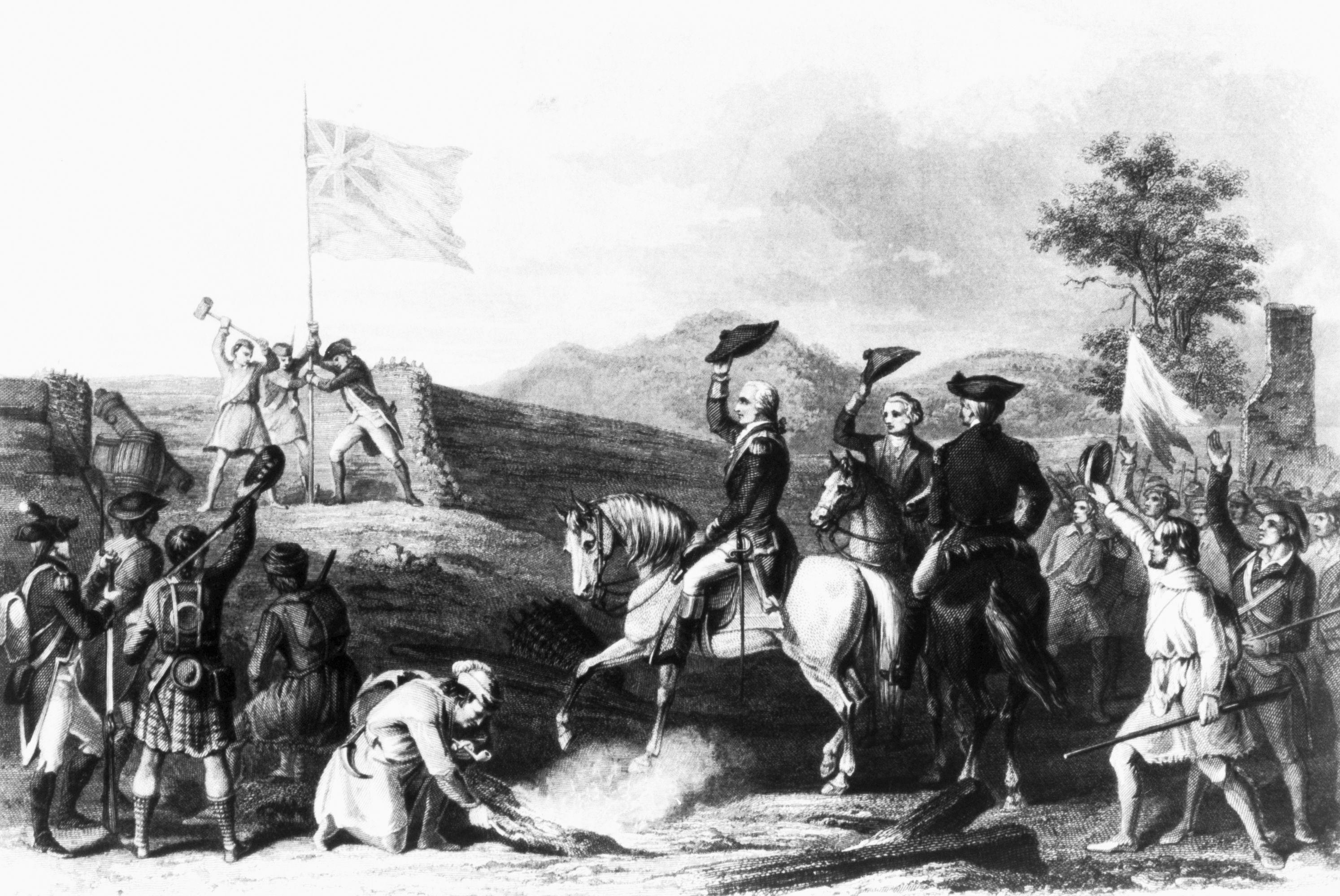 Raising the British Flag at Fort du Quesne