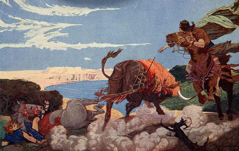The slaying of the Bull of Ishtar by Ernest Wallcousins