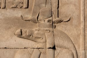 Stone carving of Sobek at his temple at Kom Ombo