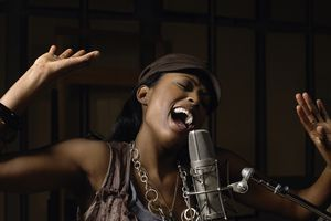 Young woman singing