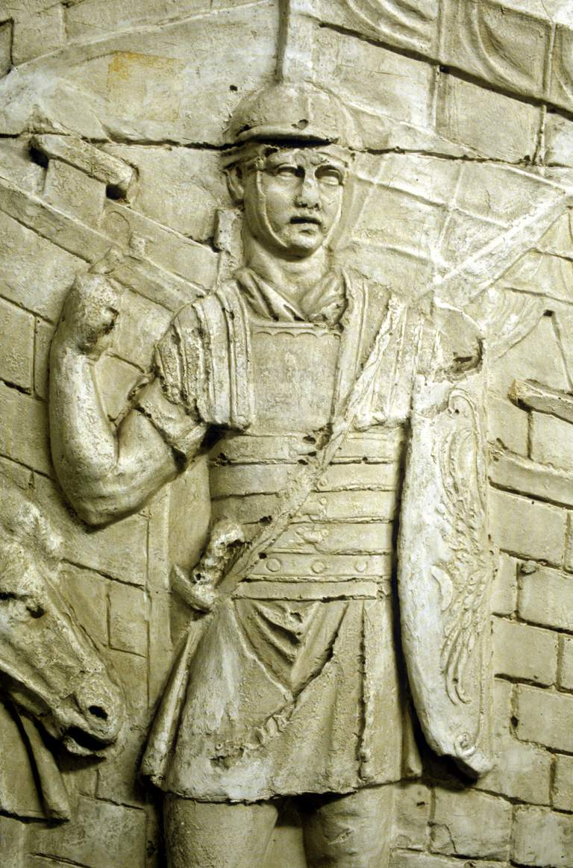 Statue of Roman legionary on sentry duty.
