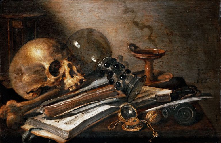Vanity painting of skull and other objects on desk.