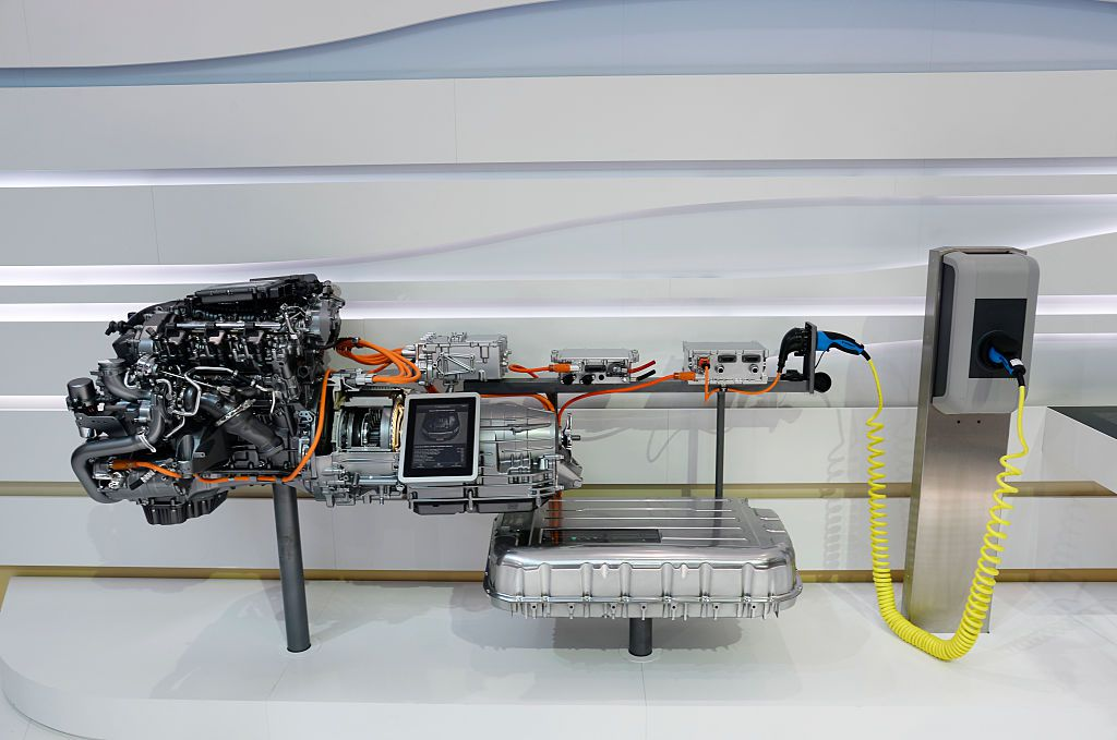 An electric engine removed from a car