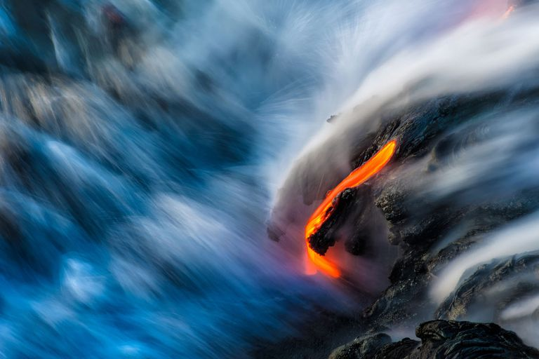 Active Lava With Flowing Water at Big Island, Hawaii, Usa