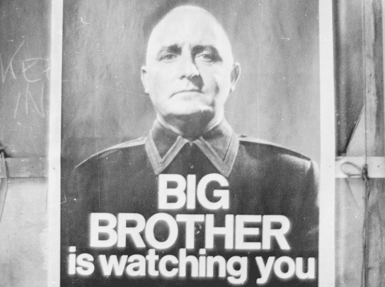 29th June 1965: A poster with the famous words 'Big Brother is Watching You' from a BBC TV production of George Orwell's classic novel '1984'