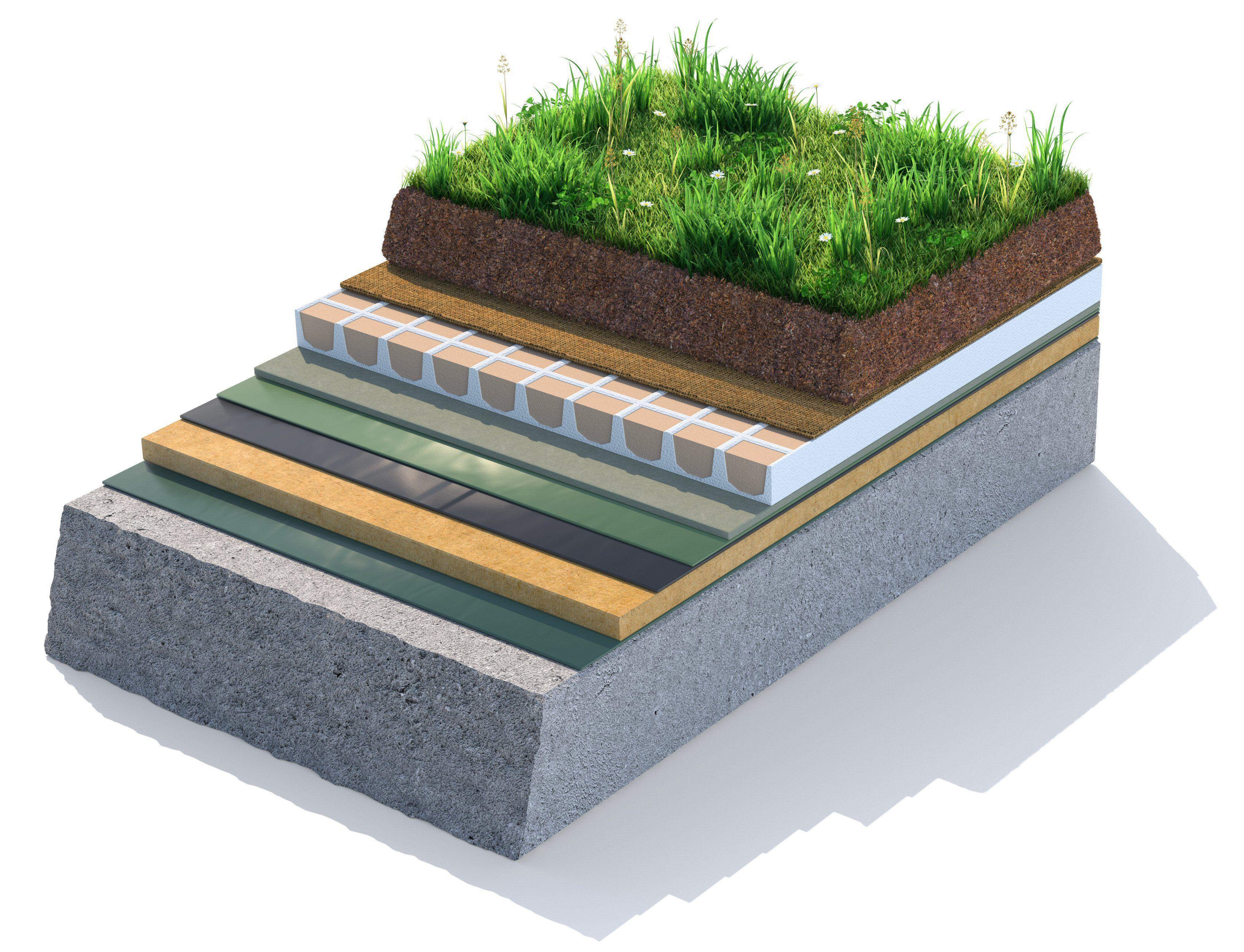 Illustration Modèle de couches de toit vert, herbe à couche supérieure