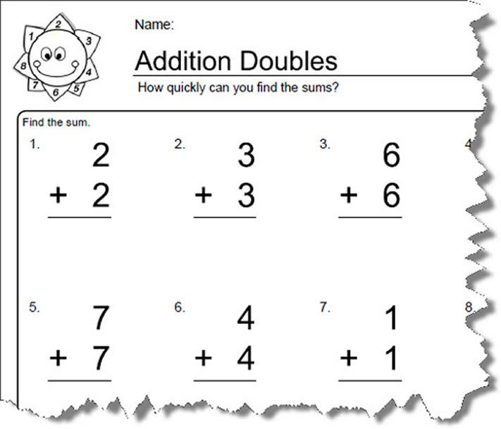 Worksheets For Elementary Math: Doubles Addition