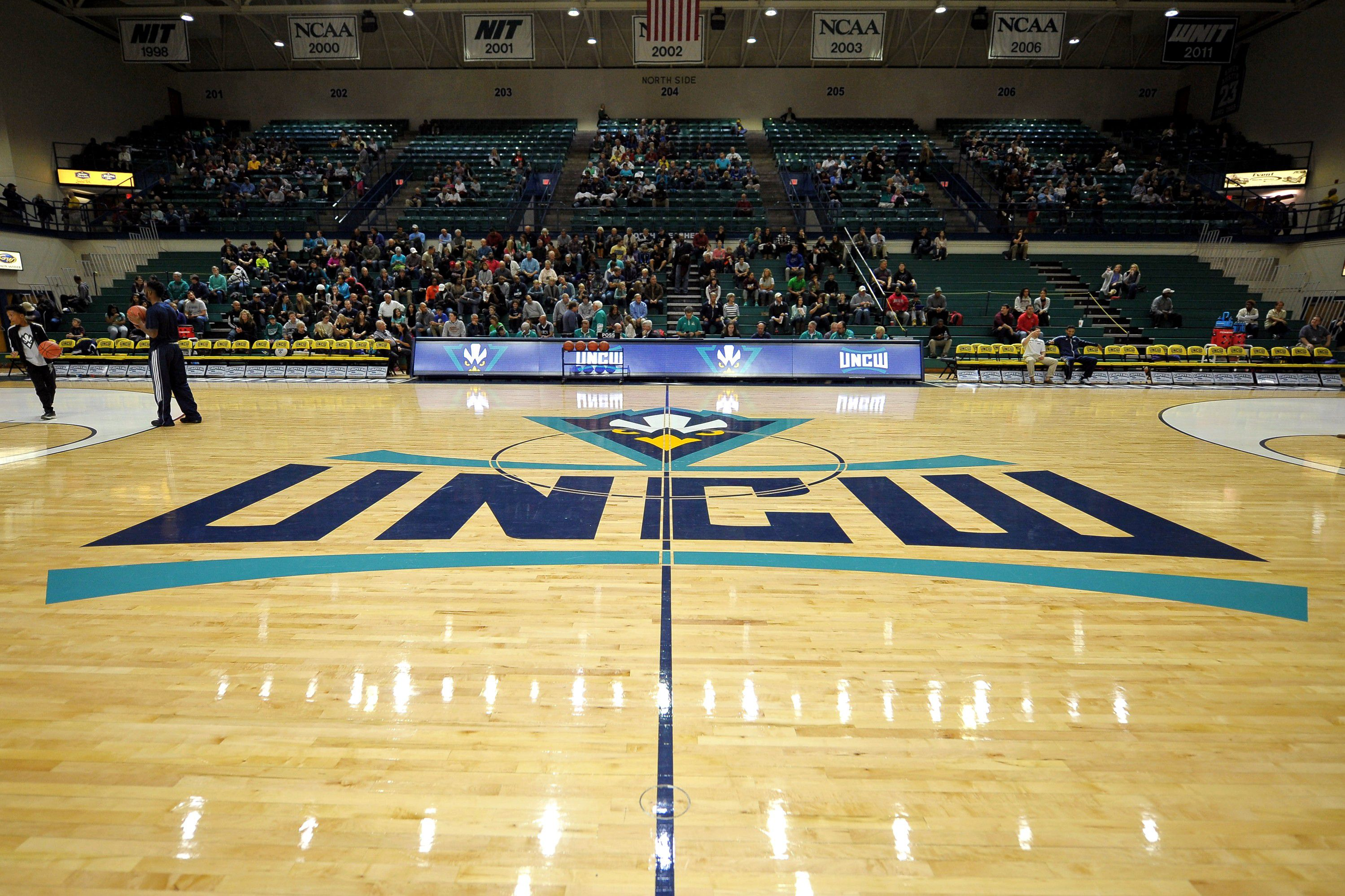 The UNCW Seahawks logo at center court of Trask Coliseum