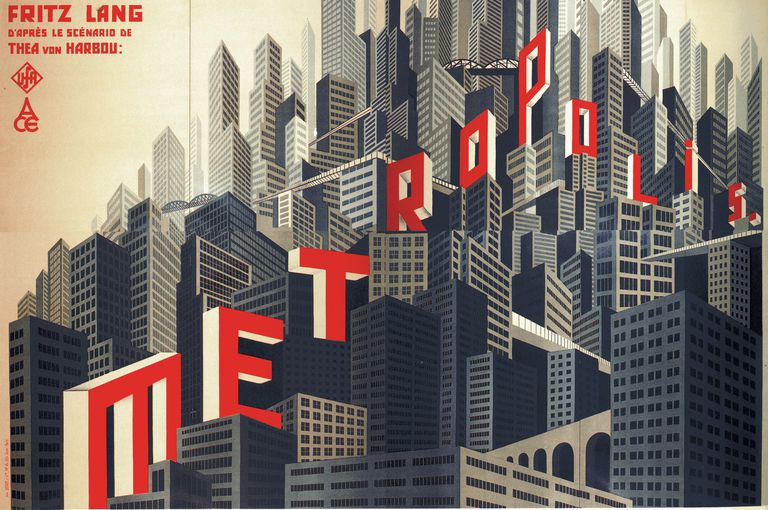 illustration, shades of grey skyscrapers, red letter film title within buildings