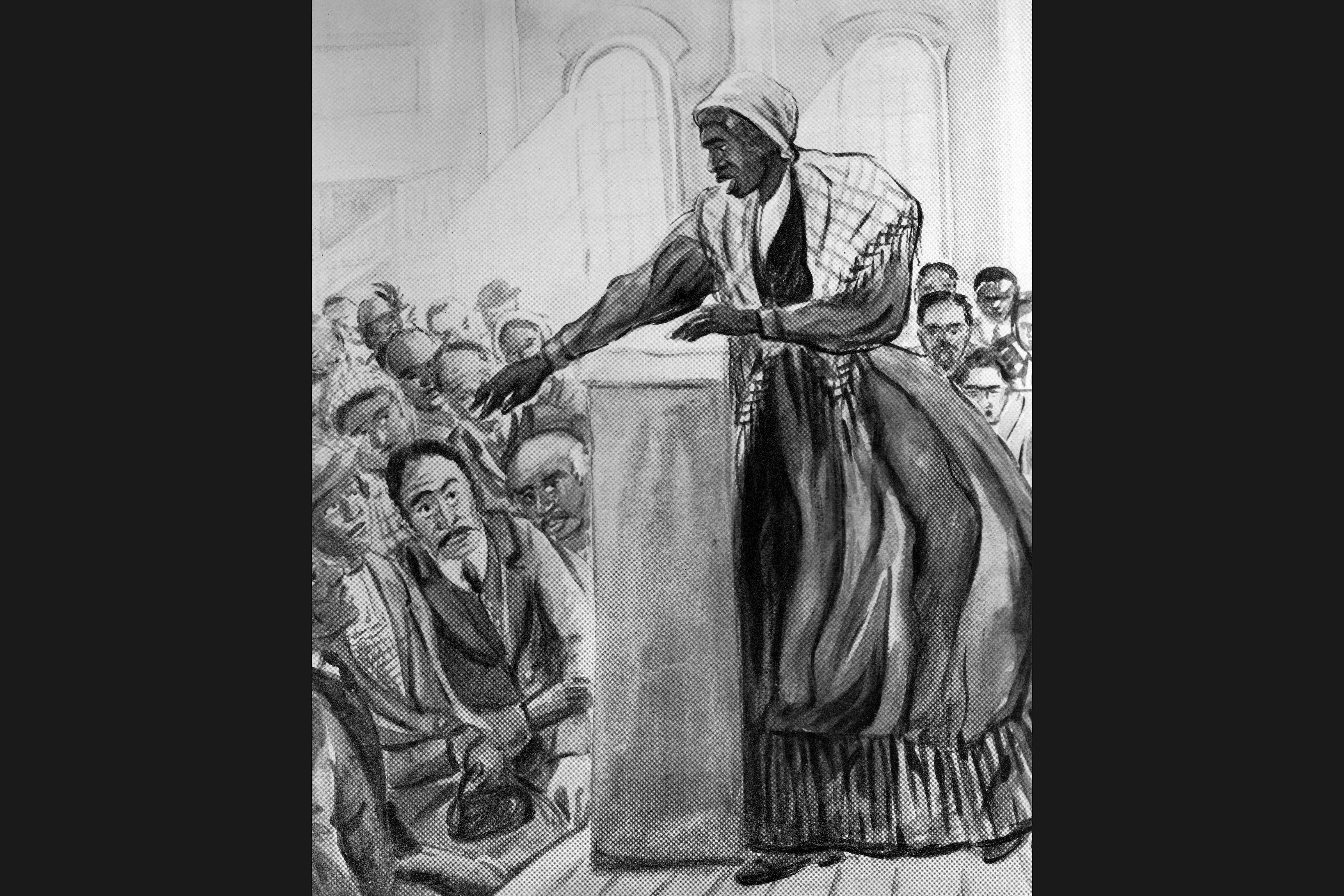 Harriet Tubman lecturing from a stage