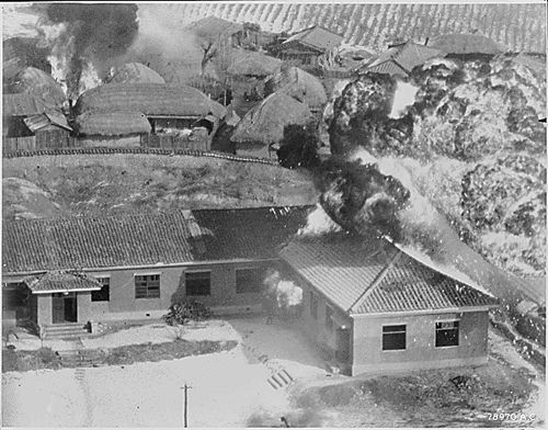 Village in North Korea is hit with napalm, January, 1951.
