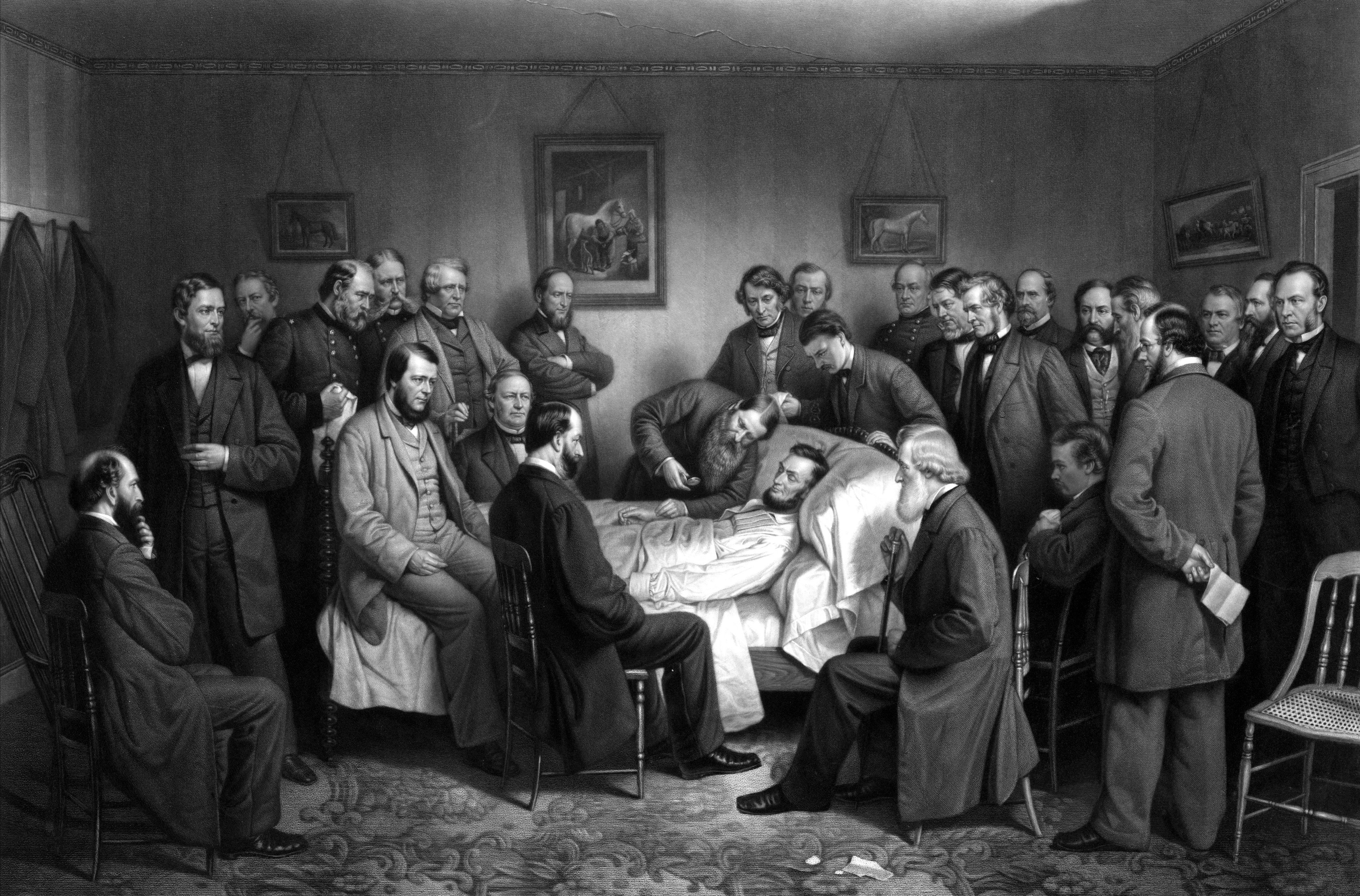 President Abraham Lincoln on his deathbed.