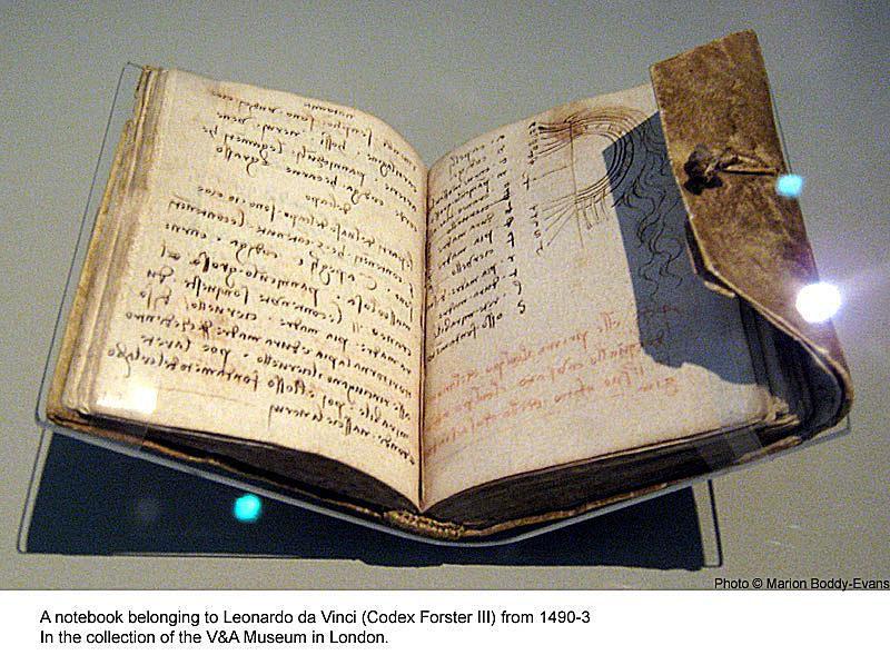 Leonardo da Vinci Notebook in the V&A Museum in London