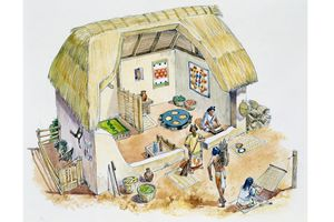 Artist's Conception of an Aztec Country House in the 14th-16th Centuries