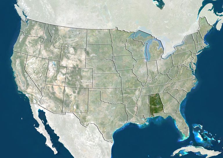 united states and the state of alabama true colour satellite image