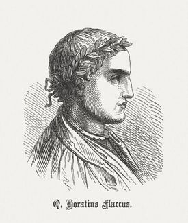 Wood engraving of of Horace looking to the right.