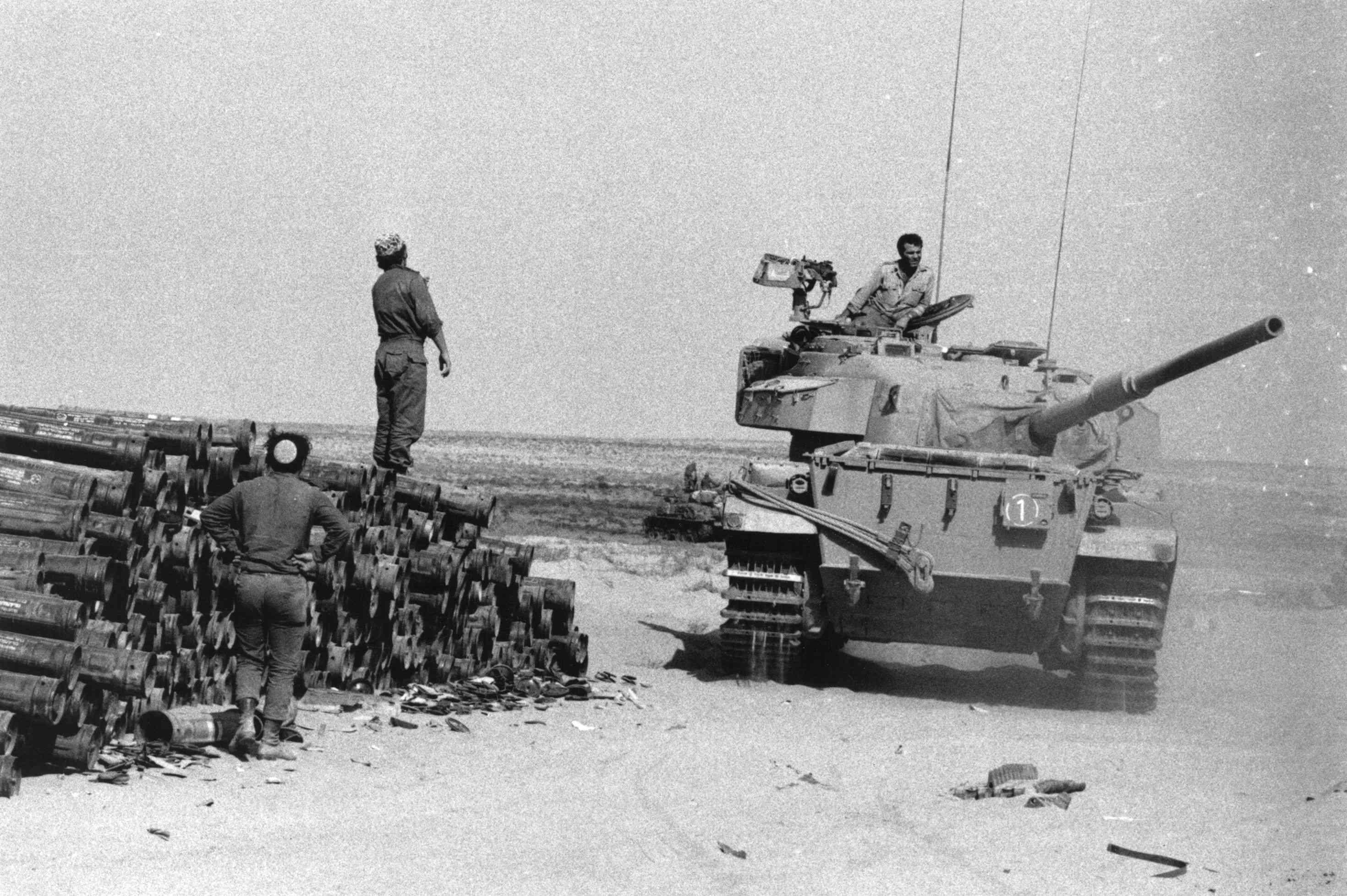 Israeli tank at supply depot in the Sinai, 1973.