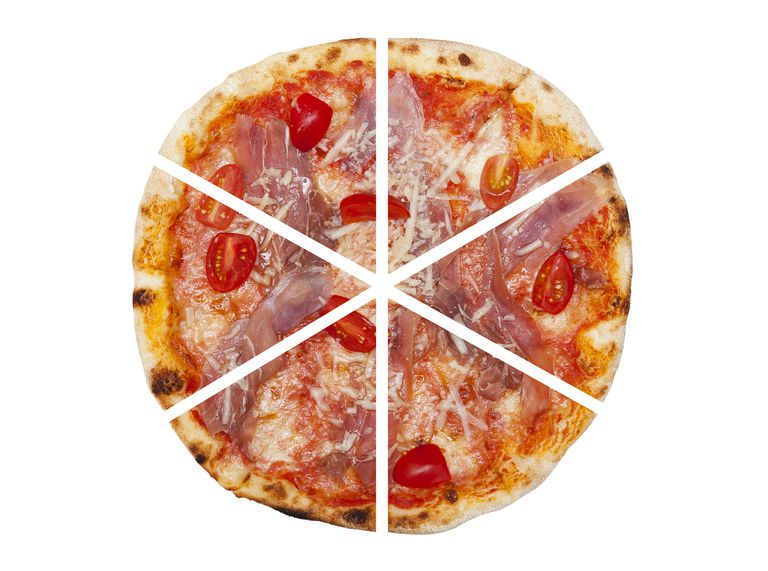 pizza cut to depict fractions