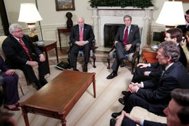 President George W. Bush and Vice President Dick Cheney brief congressional leaders on the progress of the war in Iraq
