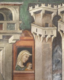 Figure of woman at window, detail from Ascent to Calvary, 14th century fresco from Master Trecentesco of Sacro Speco School, Upper Church of Sacro Speco Monastery, Subiaco, Italy, 14th century