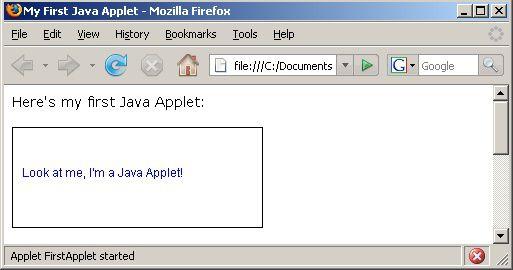 Un applet de Java simple