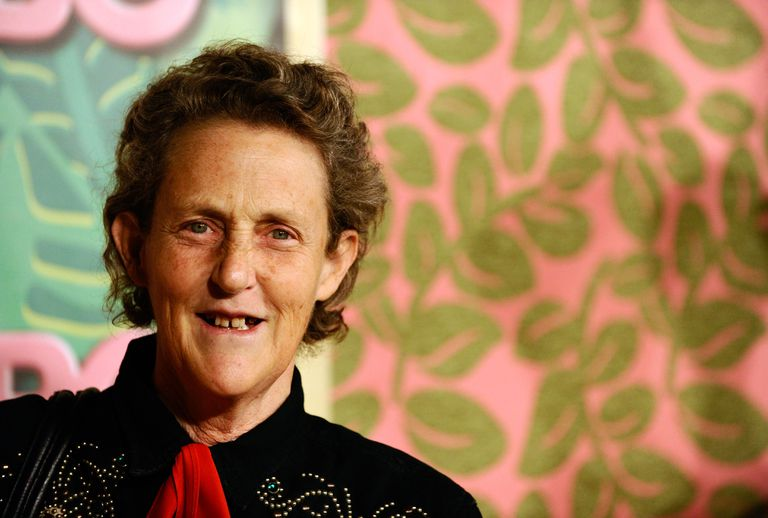Temple Grandin smiling in front of colorful background.