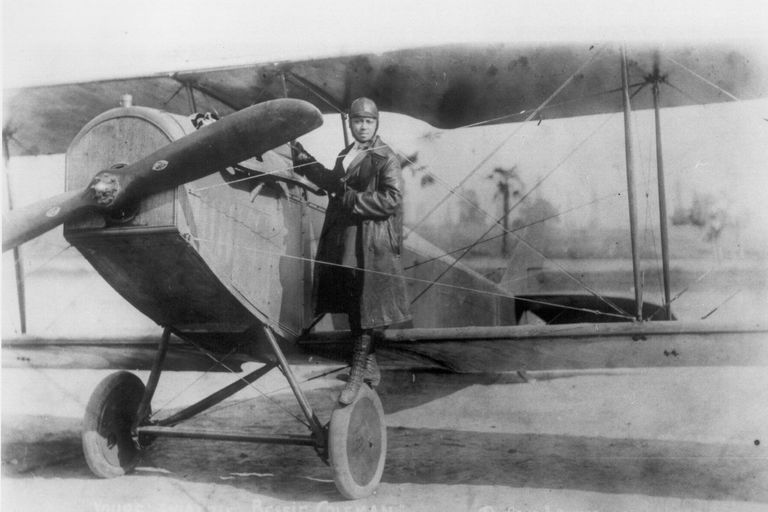 Bessie Coleman with plane