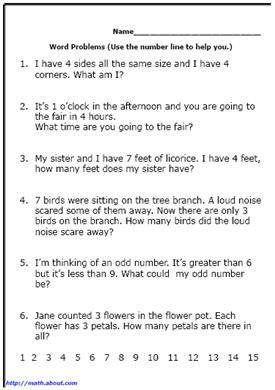 first grade math word problems. Black Bedroom Furniture Sets. Home Design Ideas